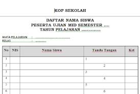 format absensi ujian download format absen daftar hadir siswa untuk ujian sekolah semua