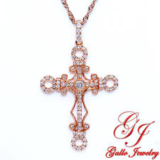 rose cross necklace images Pen01210 fancy rose gold diamond cross pendant jpg