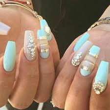 imagenes de uñas acrilicas con pedreria uñas de acrílico color menta con pedrería uñas pinterest