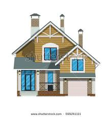 House With Garage Beautiful House Mansard Garage Facade Front Stock Vector 212206765
