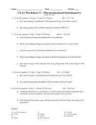 ch 11 worksheet 5 thermochemical stoichiometry
