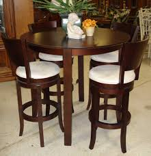 high top round kitchen table country style bistro design with espresso finish counter height