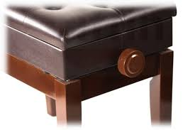 Brown Leather Bench Seat Brown Leather Piano Bench Griffin Storage Adjustable Artist Wood