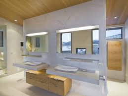 Fluorescent Bathroom Lights Modern China Cabinet Bathroom With Floating Cabinets Wooden Mirrors