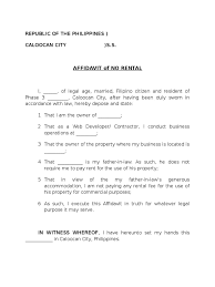 Example Of Letter Of Intent by Affidavit Of No Rental Sample