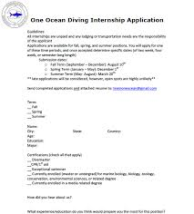 Resume To Work One Ocean One Ocean Diving And Research Homepage