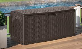 Suncast 50 Gallon Patio Bench by Suncast Blow Molded Herringbone 124 Gallon Resin Deck Box