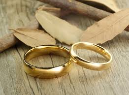 handmade gold dome plain matching wedding bands rings set