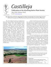 montana native plant society the importance of forbs in big sagebrush plant communities for