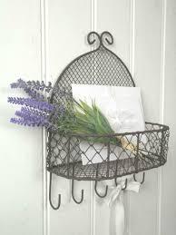 french vintage style wall letter rack key hooks storage basket