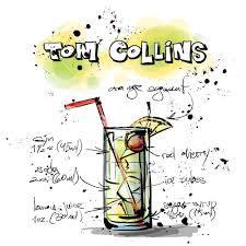 tom collins hand drawn illustration of cocktail tom collins vector