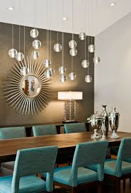 lighting floating bubble chandelier with sunburst mirror and wood
