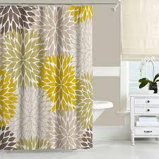 floral shower curtain dahlia mustard yellow green brown