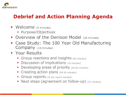 debriefing report template denison culture survey results debrief and planning ppt