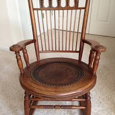 Childs Antique Chair Fryeburg Maine Antique Oak With Leather Seat U0026 Matching Child U0027s
