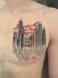 awesome chicago skyline tattoo on chest