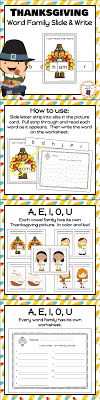 thanksgiving word family slide and write family words