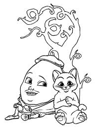 puss boots humpty dumpty sit tree coloring pages