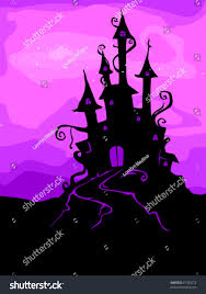 halloween design featuring silhouette haunted castle stock vector