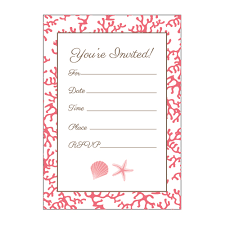 blank invitations coral and shell fill in the blank invitations
