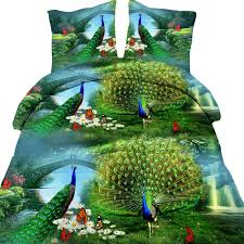 popular peacock bedspread buy cheap peacock bedspread lots from 4pcs 3d peacock print bedding sets bedspread queen size full double duvet cover set bed in