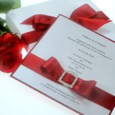 Red Wedding Invitations Wedding Invitations With Diamante Buckles And Satin Ribbon Bows