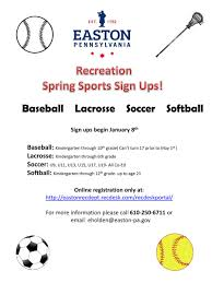 bureau ups easton rec bureau on sports sign ups begin january