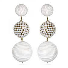 suzanna dai earrings white beaded silk gumball statement bon bon earrings by suzanna