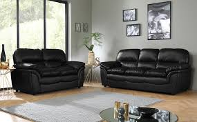 Pictures Of Living Rooms With Black Leather Furniture Rochester Black Leather Sofa Suite 3 2 Seater Only 699 98