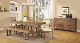 coaster elmwood rustic table and chair set with dining bench