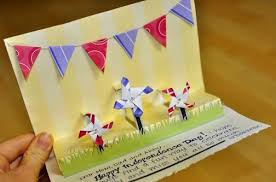 2 step pop up greeting card 4th of july