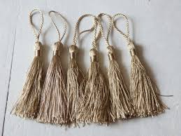 six silky tassels in beige gold tassels for malas jewelry