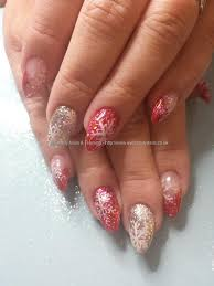 eye candy nails u0026 training red and silver glitter with freehand