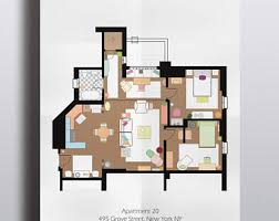 Tv Show Apartment Floor Plans Tv Floor Plan Etsy