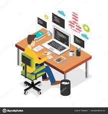 ordinateur bureau professionnel programmeur professionnel travail écriture d un code sur l