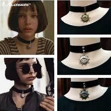 black choker style necklace images Matilda gothic punk style sun moon pendent black velvet ribbon jpg