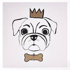 sparkling gold crown bone pug card card factory