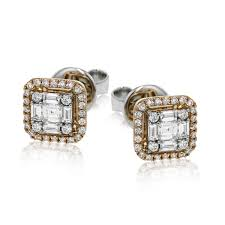 earring gold 18k white gold geometric design diamond earrings mosaic collection
