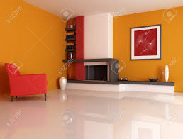 modern fireplace ina orange living room with picture in the wall