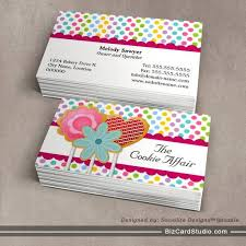 whimsical cookie pops business cards bakery business cards
