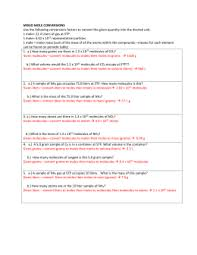 mole calculation practice worksheet name