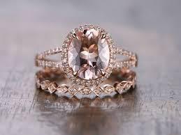 morganite engagement ring gold 14k gold morganite engagement ring set 2pcs diamond wedding