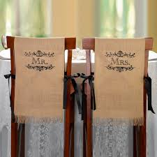 wedding chair sashes mr and mrs burlap chair covers wedding chair covers chair