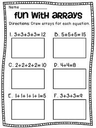 arrays arrays arrays addition worksheets math centers and math