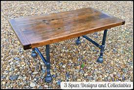 3 spurz dandc repurposed refurbished creations table time vintage industrial butcher block workbench top with original patina that tells the story of many jobs well done turned into coffee table with pipe legs