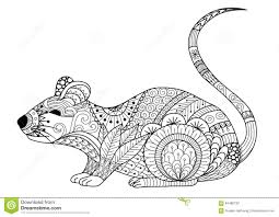 hand drawn zentangle mouse for coloring book for and other