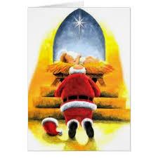 santa and baby jesus santa kneeling before baby jesus christmas card zazzle