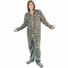 blue leopard fleece onesie hooded footed pajamas with drop