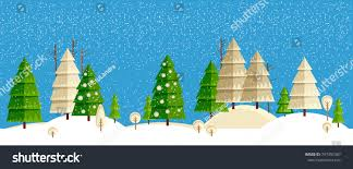 winter horizontal landscape christmas tree forest stock vector