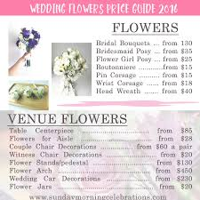 Wedding Flowers Guide Wedding Flowers Price Guide Sunday Morning Celebrations
